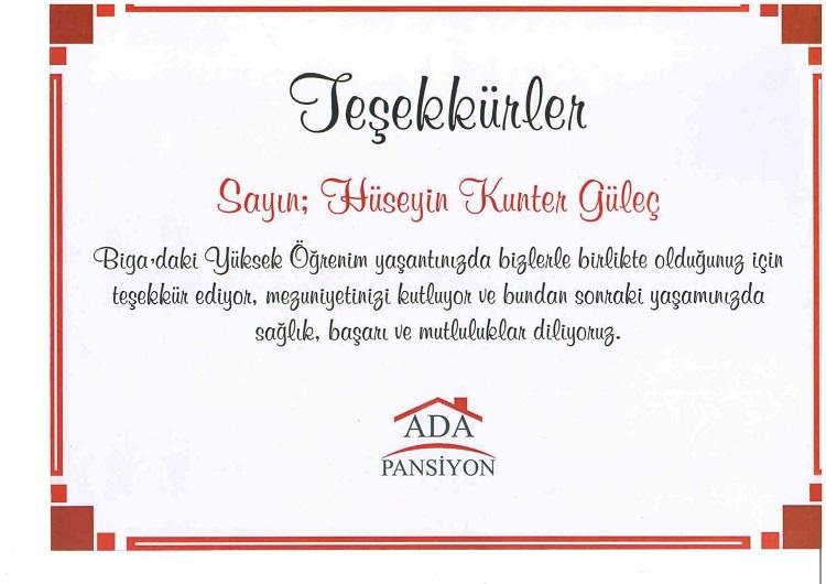 BİGA ADA PANSİYON TEŞEKKÜR BELGESİ