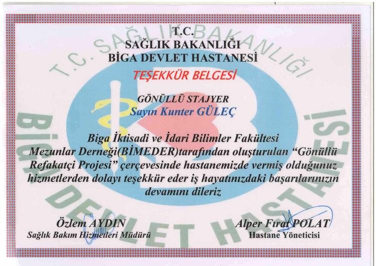 Biga Devlet Hastanesi Teşekkür Belgesi